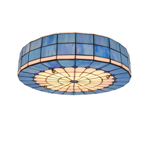 "New 20"" Tiffany Lights Stained Glass Lamp Flush Mount Light Retro Shell Living Room Bedroom Ceiling Lamp Fixture Lighting CL234"