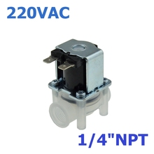 "AC 220V NC(Normal Close) 1/4""NPT Female Thread Contection PP Body for RO Water Air Oil Electric Plastic Solenoid Valve"