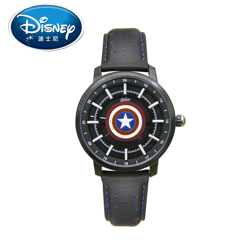 Disney Men Watch Student Avenger Genuine Brand American Captain Fashion Simple Cool Wristwatches Girls Gift Leather Strap clock<br>