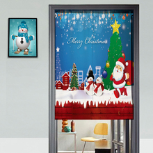 Custom Canvas 3D Door Curtains Panel Christmas Theme Element Pattern Thicken Kitchen Curtains Bedroom Curtains for Living Room(China)