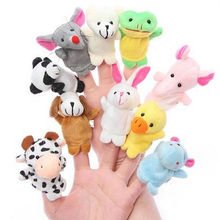 Hot 10Pcs Family Finger Puppets Cloth Doll Baby Educational Hand Cartoon Animal Toy(China)