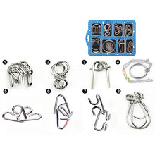8 Pcs/Set IQ Metal Puzzle Brain Teaser Game Toys New Year Gifts for Children,Chinese Ring IQ Metal Wire Puzzles for Adults(China)