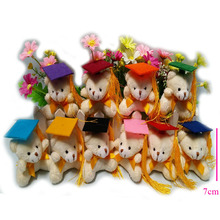 20 pcs/lot, 7cm cream graduation spirit bear with keychain Plush Toys,stuffed toys, soft graduation bear,10 colors cap to choose
