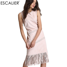 Buy ESCALIER Summer Dress Women Sexy Sleeveless Solid Tassel Hollow Vintage Dresses Long Fashion o-neck Casual Maxi Straigh Dresses for $25.54 in AliExpress store