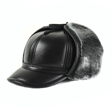 HL166-F Genuine leather baseball cap hat  men's winter brand new cow skin leather hats caps black with Faux fur inside