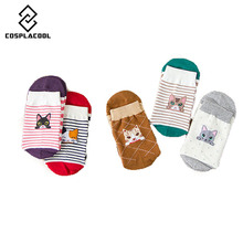 [COSPLACOOL] Winter cats socks woman animal  cartoon cotton 5 colors Cute gift for Christmas Striped  Breathable in tube socks