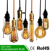 Retro Edison Light Bulb Vintage Incandescent Bulb Edison Lamp E27 220V 40W A19 A60 ST64 T185 G80 G95 Filament pendant light(China)