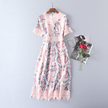 high quality pink crochet lace floral dress bohemian clothing v neck short sleeve a line women' midi dress elegant summer dress