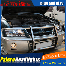 A&T Car Styling For Mitsubishi Pajero V73 headlights For V73 LED head lamp Angel eye led DRL front light Bi-Xenon Lens xenon HID