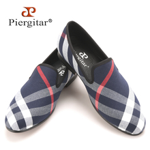 Piergitar Blue and white plaid canvas shoes luxurious brand men loafers black pig leather insole men 's casual shoes men's flats(China)