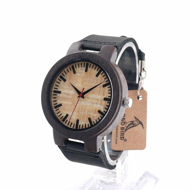 BoboBird C023 Mens Black Sandal Wooden Bamboo Watches Luxury Wooden Bamboo Watches With Leather Quartz Watch<br><br>Aliexpress