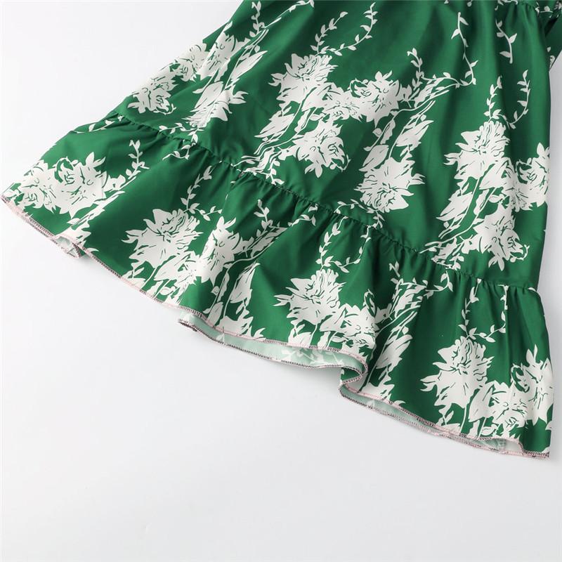 Hirsionsan Short Bohemian Dress 2017 Summer Women Sundress Sexy V-neck Floral Print Boho Dress Backless Green Beach Sundress 13