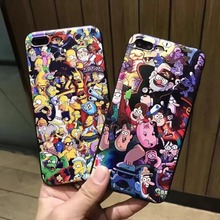 Newest Gravity Falls Simpson family soft pu leather + silicone phone Case for iPhone 7 6 6s Plus cute Cartoon animals pigs cover