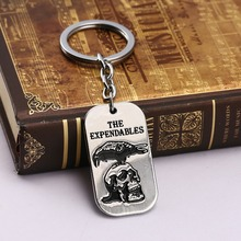 American vintage soldiers us army dog tag keychain Personality retro men The expendables eagle logo key chain hot sale(China)
