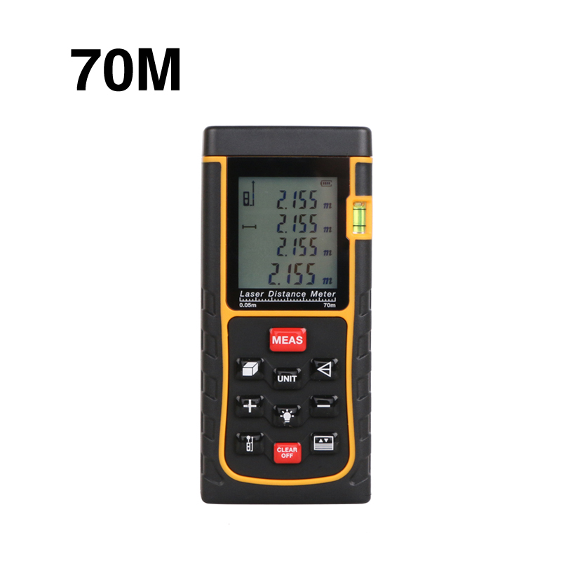 70m Laser distance meter 229ft bubble level rangefinder measuring tape measure area/volume m/ft/in with box WAL47<br><br>Aliexpress