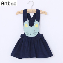 90-100cm Brand little girls skirts 2017 spring autumn corduroy faric Princess Cat suspender skirts for girls children