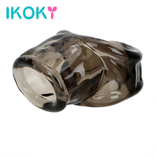 Buy IKOKY Male Masturbator Silicone Delay Ejaculation Scrotal Binding Cock Ring Sex Toys Men Male Penis Ring