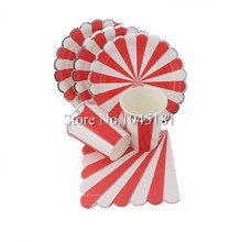 ipalmay Red&Silver Foil Striped Dinnerware Paper Plates Cups Napkins Straws Christmas Valentines Day Mickey Mouse Party(China)