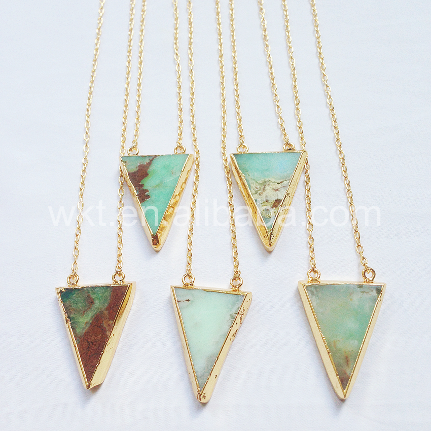 WT-N553 Elengant  Gold necklace wholesale gold color chain Natural chrysoprase stone triangle pendant necklace for women