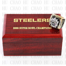 Year 2005 Pittsburgh Steelers Super Bowl Championship Ring 10-13Size HINES WARD Fans Gift With High Quality Wooden Box(China)