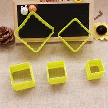 2015 New Free Shipping 5pcs/set Square shape 3D plastic cake mold bread/toast/sushi/rice mould cookie cutter D789
