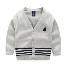 New Boy Sweaters Striped Cotton Top Stripe Boys Sweater V Neck Kids Clothes Embroidery Sailboat Baby Cardigan Children Clothing