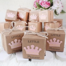 10Pcs Kraft Paper Gift Box Candy Boxes Baby Shower Decorations Wedding Favors and Gifts Box for Guests 2*2*2inch Party Supplies(China)