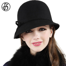 FS Wide Brim Black Wool Elegant Hats For Women Vintage Floppy Felt Hats Ladies Winter Fedora Hat Chapeu Feminino De Feltro(China)
