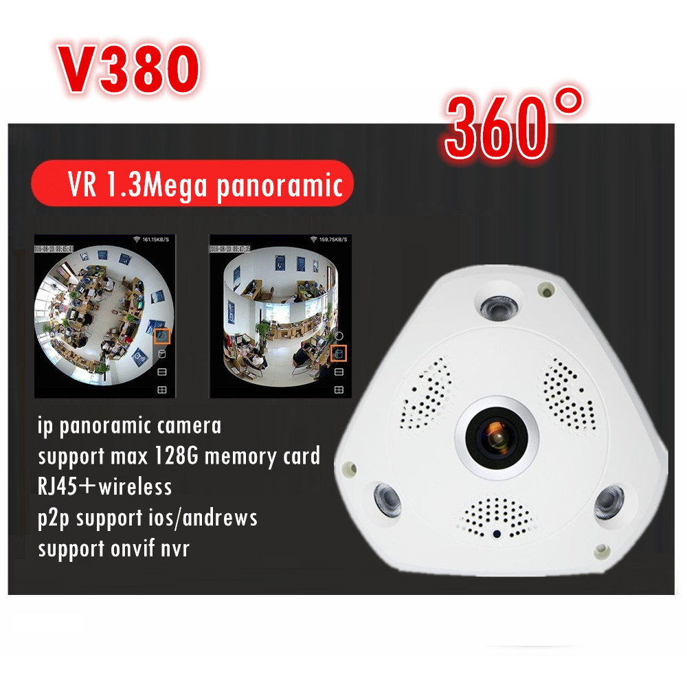 WIFI IP Camera 360 Fisheye Panoramic Dome Camera 1.3MP 960P ONVIF CCTV Night Vision Video Surveillance Security v380<br>