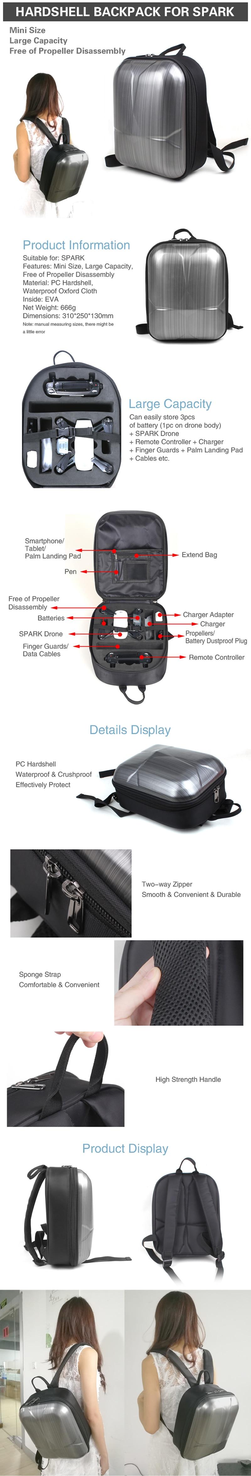 Mini Waterproof Hardshell Backpack for DJI Spark Drone Portable PC Storage Bag Travel Carrying Bag Case Shoulder Bag Quadcopter