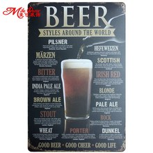 [ Mike86 ] BEER STYLES AROUND THE WORLD Metal Painting Wall plaque Pub Home Hall Store Party Decor 20X30 CM AA-735(China)
