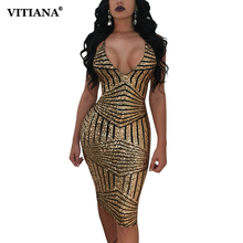 VITIANA Women Sexy Party Sequin Dress Female Golden Green Deep V Neck Sleeveless Backless Slim Bodycon Club Wear Dresses(China)