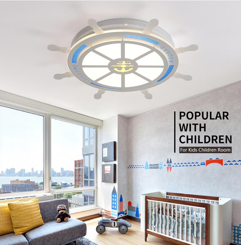 Horsten Modern Creative Acrylic LED Ceiling Lamp For Baby Room Kids Children Bedroom Pirate Rudder Lampshade Ceiling Light (5)