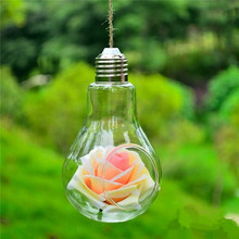 2017 Clear Bulb Shape Glass Hanging Vase Bottle Terrarium Table Wedding Decor Home Decoration(China)