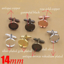 Wholesale Jewelry Accssories 200piece/lot 14mm Blank Cuff Link Threaded rod Cuff Link Base for Cameo Setting Free Shipping(China)