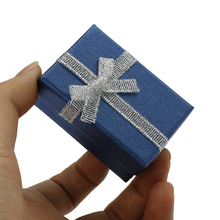 Wholesale 40pcs Blue Paper Jewelry Sets Display Box Cardboard Necklace Earrings Ring Box 4*6cm Packaging Gift Box with Sponge