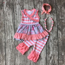 baby girls summer floral outfits kids top with coral stripe ruffle capri clothes baby girls boutique outfits with accessories(China)