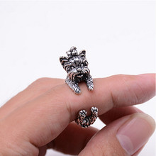 New Fashion 3 color Vintage Antique Poodle Chic Dog open size Ring Cute Animal Ring factory Price Women Jewelry(China)