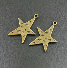 Free Shipping! 10pcs Antique Bronze Small Star Large Star Charms 28x21mm Jewelry  Making DIY Handmade Craft  A94