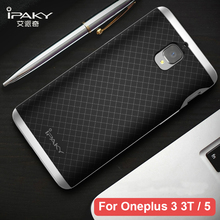 Original iPaky For Oneplus 3 Case Luxury Fashion Armor Silicone Back Cover PC Frame Soft Fundas For One Plus 5 Oneplus 3T Cases