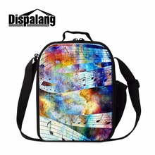 Dispalang Cool Lunch Container Music Pattern for Kids School Personalized Insulated Cooler Bag Messenger Lunch Bag for Girls boy