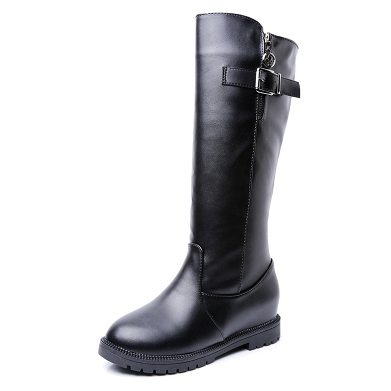 Sexy Knee High Boots Fashion Buckle Autumn Winter Platform Women Leather Boots Casual Flats Ladies Shoes Woman<br><br>Aliexpress