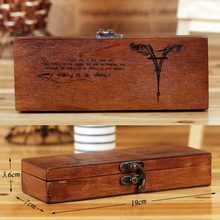 New Natural Wooden Storage Box Case Retro Vintage Eiffel Tower Wood Wooden Pencil Pen Case Box Stationery Storage Case BS