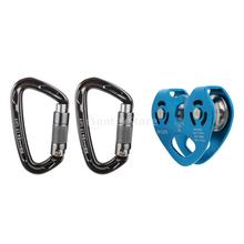 30KN Zip Line Cable Trolley Zipline Fast Speed Dual Pulley + 24KN Screw Locking Carabiner for Hauling Climbing - CE Certified
