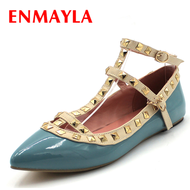 ENMAYLA T-Strap Rivets Summer Women Flats Pointed Toe Gladiator Sandals Women Shoes Woman New Sexy Flats Ladies Shoes<br>