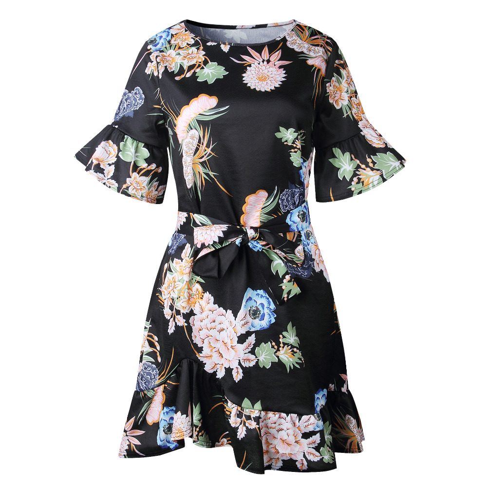 Lossky Summer Women Beach Dress 2018 Bohemian Floral Print Boho Dress O-Neck Short Sleeve Ruffle Mini Chiffon Dress With Belt 9