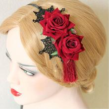 Vintage National Trend Tassel Rose Flower Hair Accessory Fringe Red Rose Hair Bands Lace Chinese Style Headband Bridal Formal