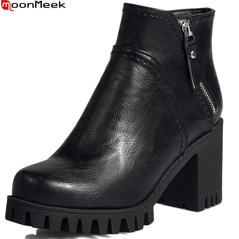 MoonMeek fashion autumn winter women boots round toe zipper ladies shoes square heel platform black gray ankle boots<br>