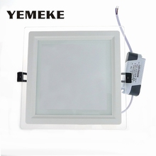 Dimmable LED Panel Downlight Glass Recessed Ceiling Panel Light 6w 12w 18w Energy Saving Lamp Kitchen Lighting Fixtures110V 220V(China)