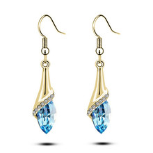 Fashion Jewelry Austria Element Crystal Waterdrop Earrings For Women 2017 Popular Rhinestone Drop Long Jewelery female brincos